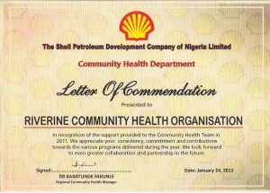 RIVCHO Certificate of Commendation by (SPDC) Community Health Department